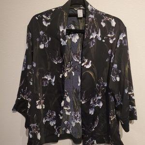 BLACK FLORAL BLAZER W/ WHITE & GREEN FLOWERS